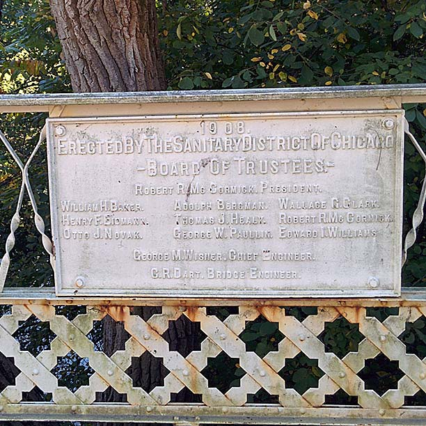 Plaque on the Linden St Bridge over the North Shore Channel